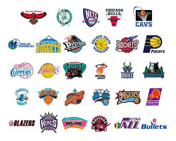 NBA teams logos in 90s