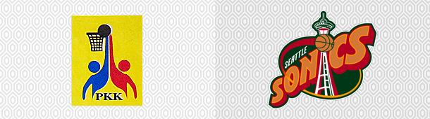 Logo PKK Warta Szczecin kontra logo Seattle Supersonics